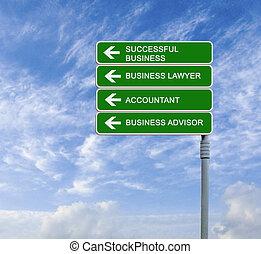 panneaux signalisations, à, réussi, business