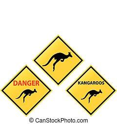 panneaux signalisations, kangourous, jaune