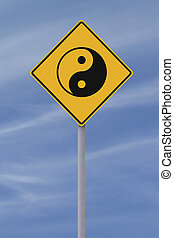 panneaux signalisations, yang, yin