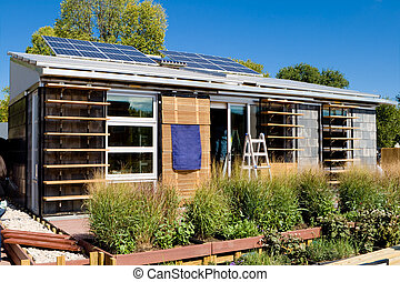 panneaux, solaire, maison, moderne, photovoltaïque, abats-...