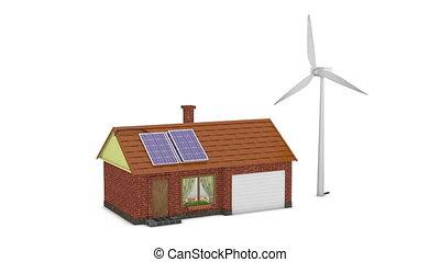panneaux, solaire, remonter générateur