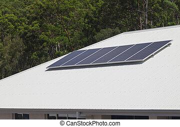 panneaux, solaire, toit