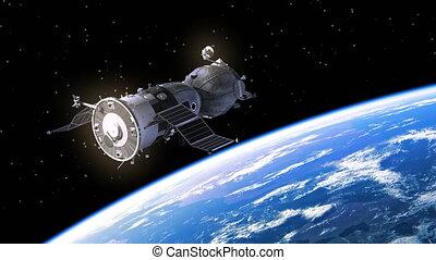 panneaux, solaire, vaisseau spatial, deploys