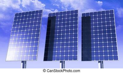 panneaux, sun., solaire, poursuite