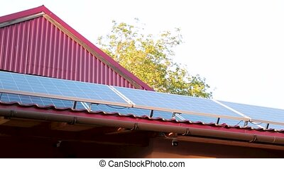 panneaux, toit, maison, solaire