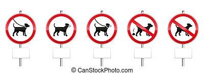 panneaux, vide, mandatory, chiens, signes