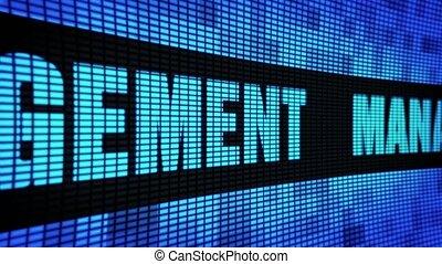 pannel, gestion, mené, mur, texte, panneau signe, défilement, exposer, côté