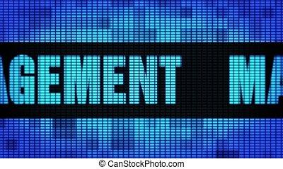 pannel, gestion, mené, mur, texte, panneau signe, devant, défilement, exposer
