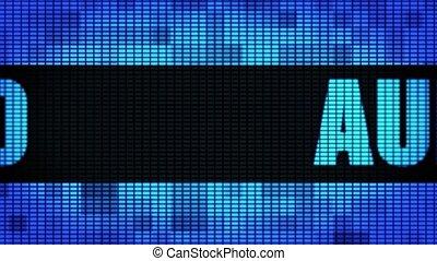 pannel, mené, mur, texte, panneau signe, devant, audio, défilement, exposer