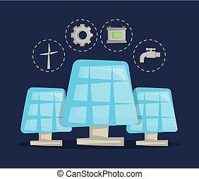 pannelli, energia, concetto, solare, pulito