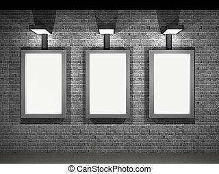 pannelli, strada, pubblicità, illustrazione, notte