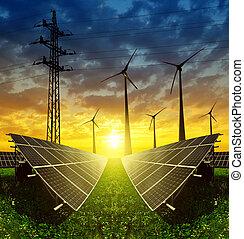 pannelli, turbine, solare, vento
