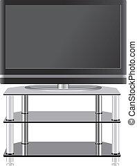 pannello fisso, televisione, su, moderno, tv, stare in piedi