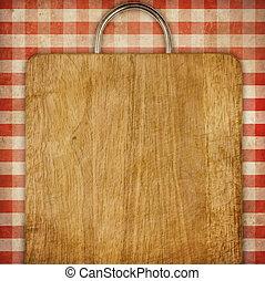 pannello truciolato, sopra, rosso, percalle, picnic