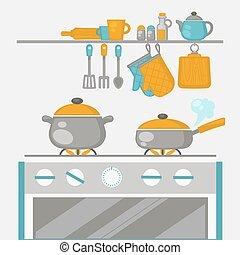 pannen, cooking., keuken, interieur, kachels