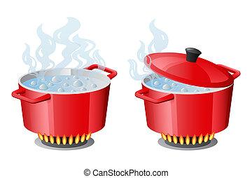 pannen, deksel, set, geopend, kokend water, gesloten, pan, rood