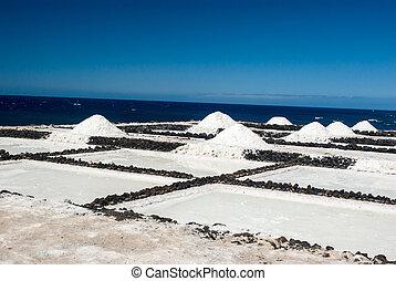 pannen, la, de, kanarie, palma, spain., fuencaliente, zout, eilanden