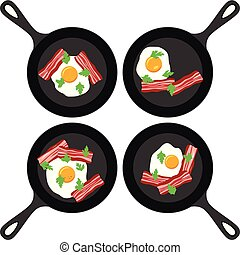 pannen, set, eitjes, spek, vector, gebraden