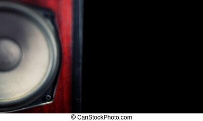 panning across a retro speaker