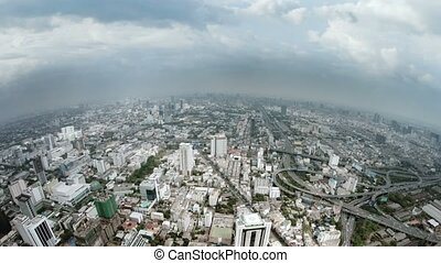 Panning across the Sprawling, Downtown Cityscape of Bangkok, Thailand