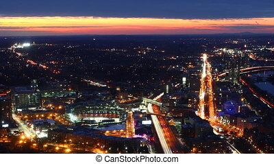 Panning aerial timelapse of the Boston city center at night