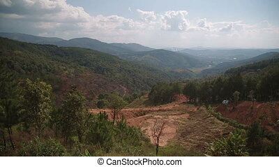 Panning beautiful view of the mountains Plateau around Da Lat city Dalat background in Vietnam