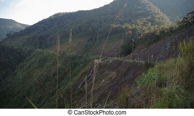 Panning beautiful view of the mountains Plateau around Da Lat city Dalat background in Vietnam waterfall