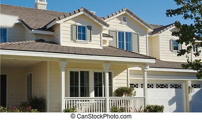 panning, foreclosure, thuis, te koop teken, en, woning