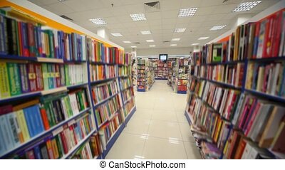 panning of bookshop\'s interior