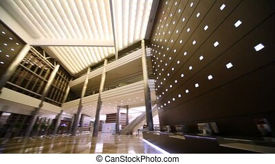 Panning of empty hall in business center - Panning of big ...