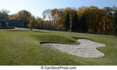 Panning of golf course in Mezhigirya, Ukraine. It is former...