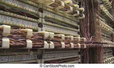 panning, op, frame, met, draden, in, server-room