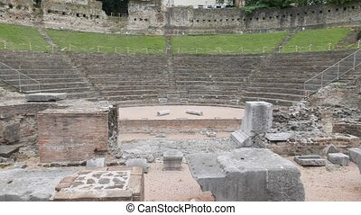 Panning over Ancient Roman Theater - the Famous Ancient...
