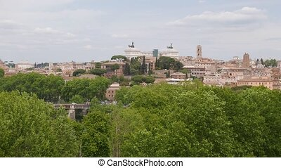 Panning Overview of Rome - the view at top of Giardino degli...
