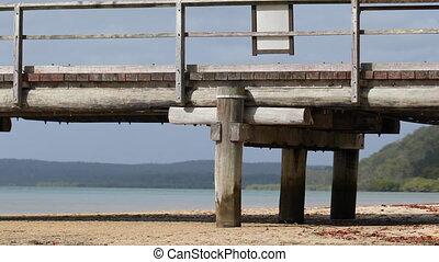 Panning shot of an empty wooden pier - Panning close-up shot...