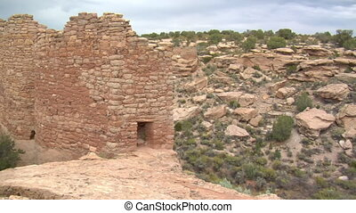 panning shot of ruins at Hovenweep national Monument