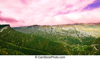 Panning shot of the mountains and scenery from pedraforca...