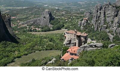 Panning the Rousannou - St. Barbara monastery, Meteora,...