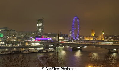 panning timelapse shot of the london eye and river thames at night
