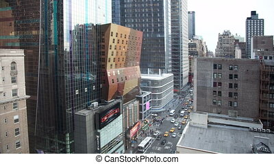 panning timelapse view of midtown manhattan skyline from a high vantage point