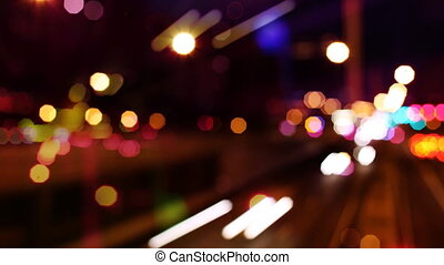 panning timelpase and out of focus abstract shot of traffic ...