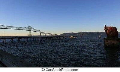 Panning video of Astoria-Megler Bridge in Astoria OR along...