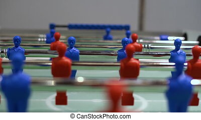 Panning view of - foosball, table soccer. Team sport, table ...