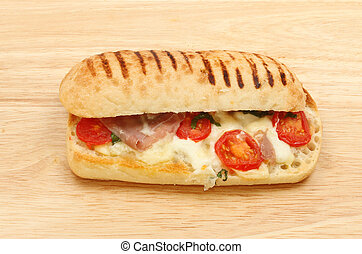 Pannini on a wooden board
