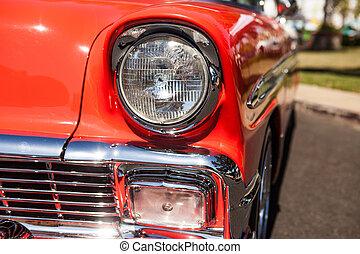 pannlampa, del, gammal, röd bil