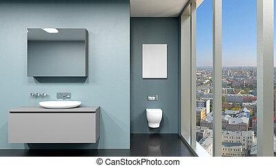 Badezimmer, hölzern, modern, übertragung, 4, inneneinrichtung ...