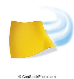 pano, limpeza, amarela