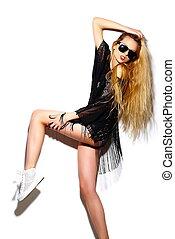 pano, look., loura, hipster, moda, glamor, bonito, alto, excitado, modelo, verão, mulher sorri, luminoso, elegante, jovem