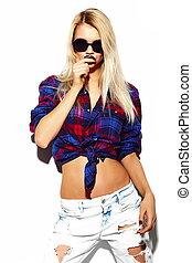 pano, look., loura, hipster, moda, glamor, bonito, alto, jovem, excitado, modelo, verão, mulher, luminoso, elegante, óculos de sol