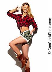 pano, look., loura, hipster, moda, glamor, bonito, alto, modelo, verão, mulher, coloridos, elegante, cute, jovem